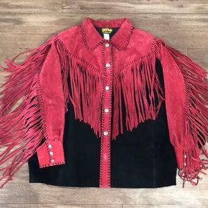 Bob Mackie suede leather fringe jacket